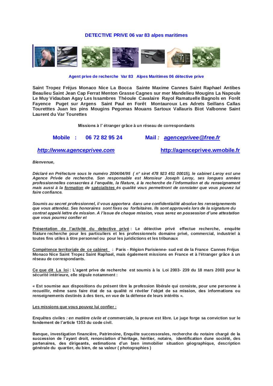 Aperçu du document Detective prive Sainte Maxime.pdf - page 1/3