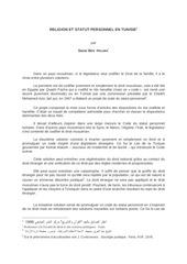 religion et statut personnel en tunisie