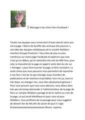 message aux fans de la page facebook protectrice des animaux