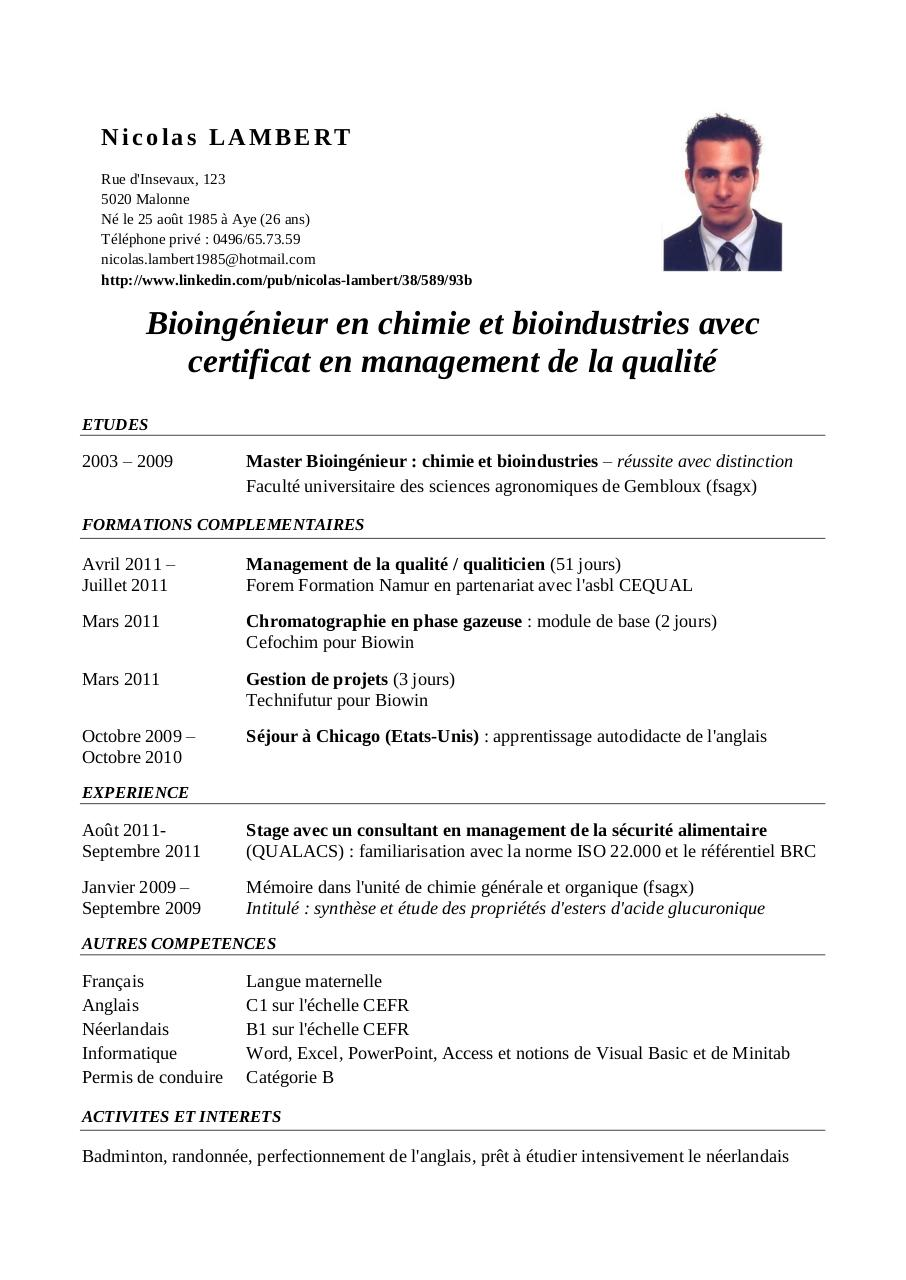 modele cv qualiticien