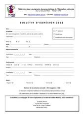 bulletin adhesion 2012