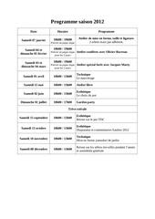 programme saison 2012