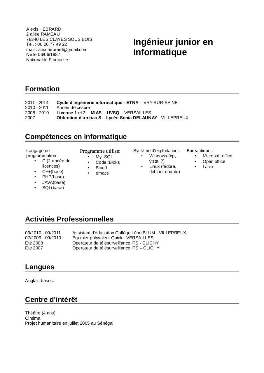 untitled 1 par alexis - cv pdf