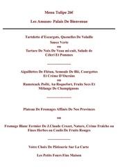 menu tulipe
