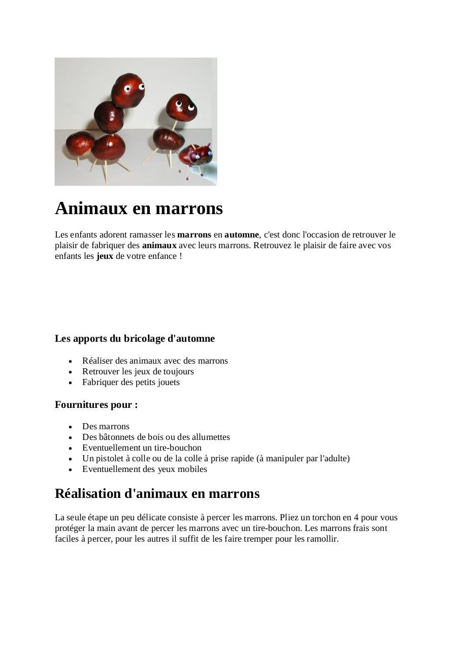 Animaux en par utilisateur fichier pdf - Comment faire cuire des marrons ...
