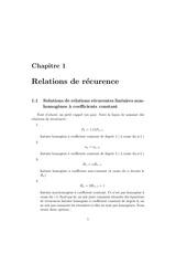 recurence non homogene resolution
