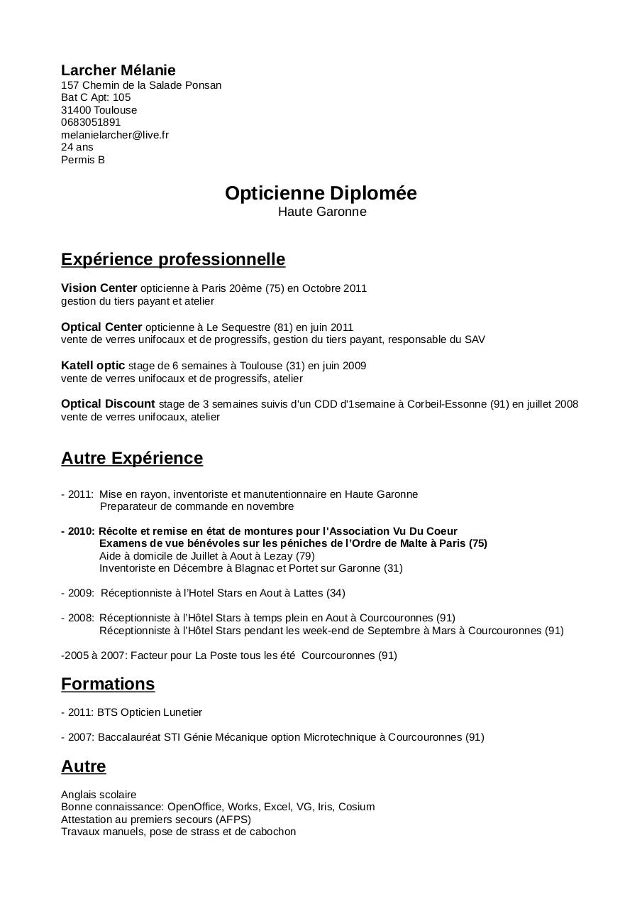 exemple de cv opticien
