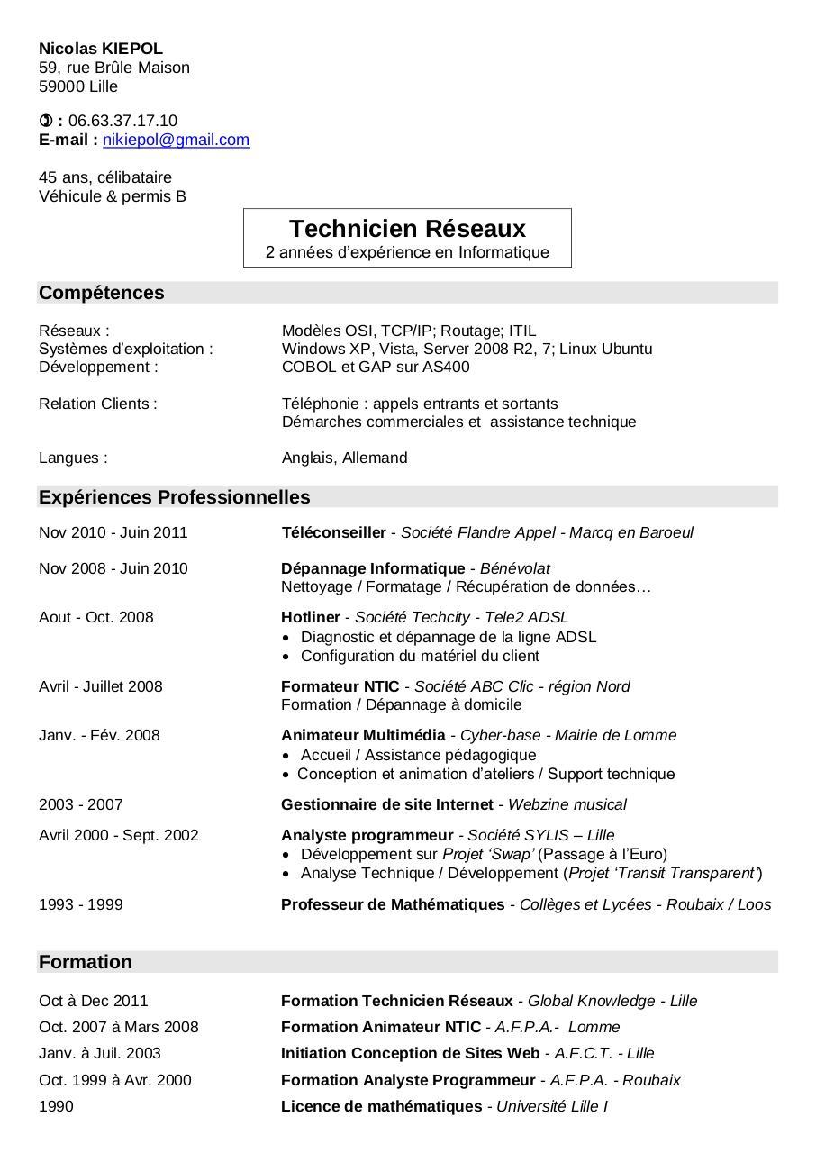 nicolas kiepol - cv technicien reseaux kiepol pdf