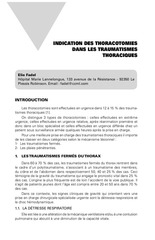 indication des thoracotomies dans les traumatismes thoraciques