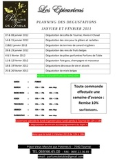 planning degustation