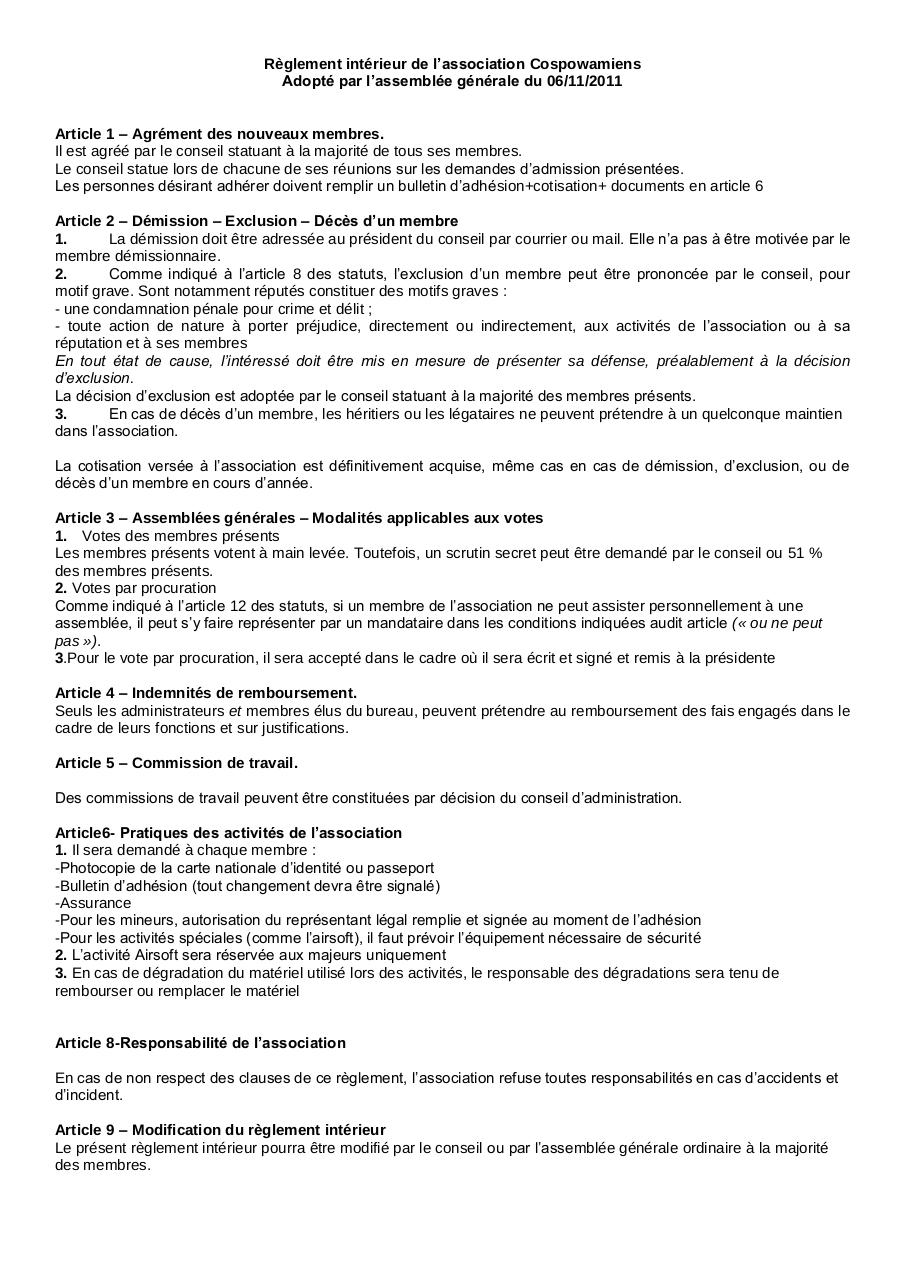 R glement int rieur par infocentre exemple de reglement for Exemple de reglement interieur association