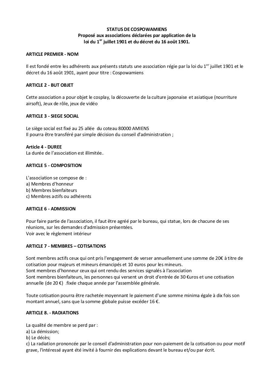 Exemple De Statuts D Association 1 Par Goizinf Fichier Pdf