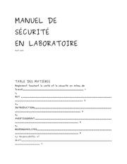 manuel de securite en laboratoire