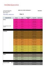 tarif des bijoux 2012