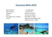 vacances malte 2012