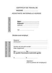 Fichier PDF certificat de travail