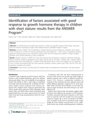identification of factors associated with good