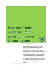 pour une tunisie moderne un mini programme pour le court terme v1 03
