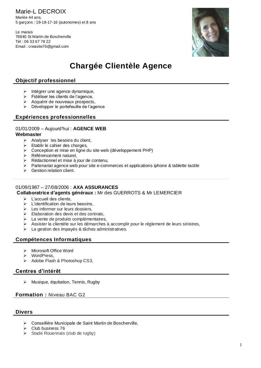 cv charg u00e9e client u00e8le agence par famille