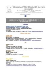 agenda de la semaine en pays bellemois n 106