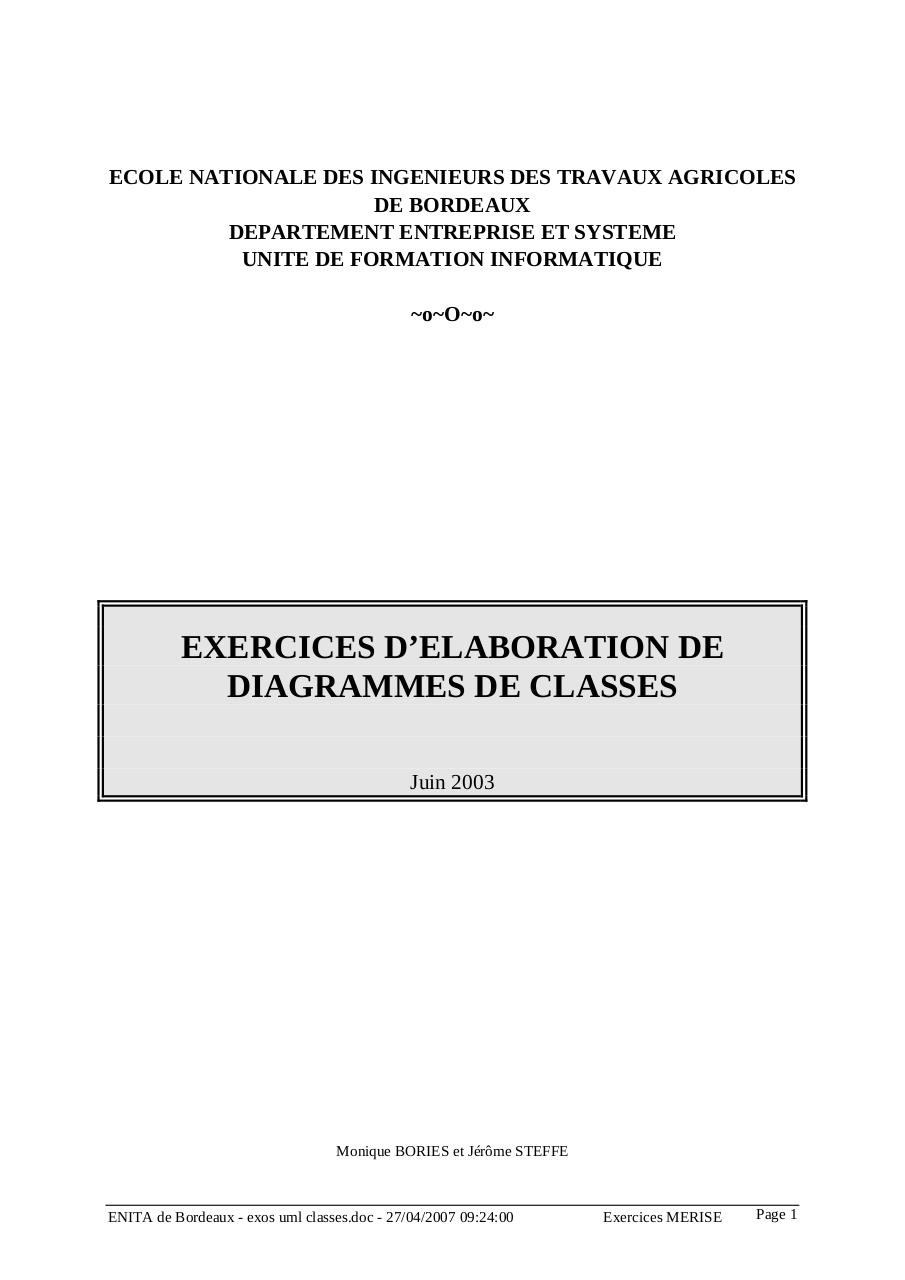 Corrigés des 9 exrcices de diagramme de classes.pdf - page 1/37