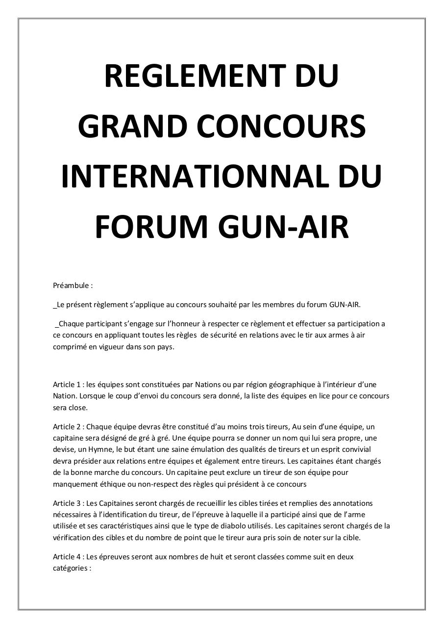 REGLEMENT DU GRAND CONCOURS INTERNATIONNAL DU FORUM GUN.pdf - page 1/5