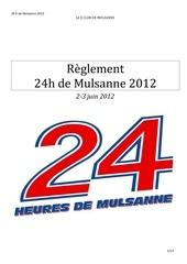 reglement 24h 2012