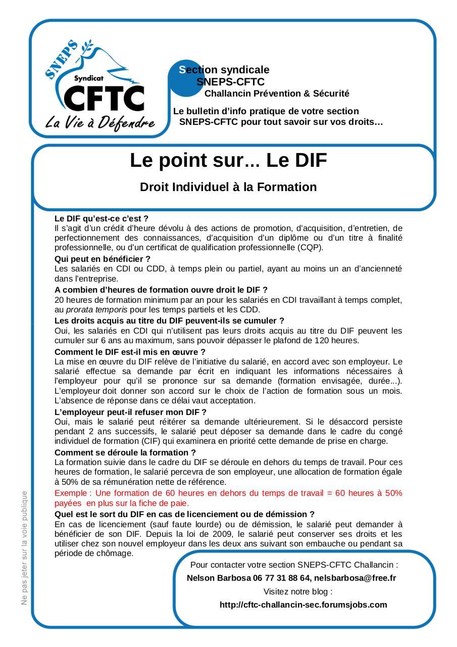2011 07 28 Bulletin D Info Du Sneps Le Dif Doc Par Nelson 2011 07
