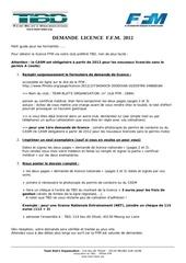 guide demande licence 2012