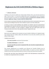 reglement du fan club officiel