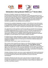 120201 declaration intersyndicale cnsis