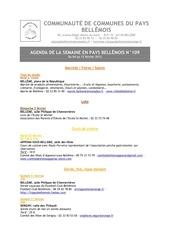 agenda de la semaine en pays bellemois n 109