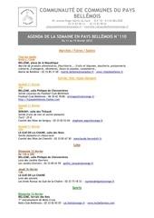 agenda de la semaine en pays bellemois n 110
