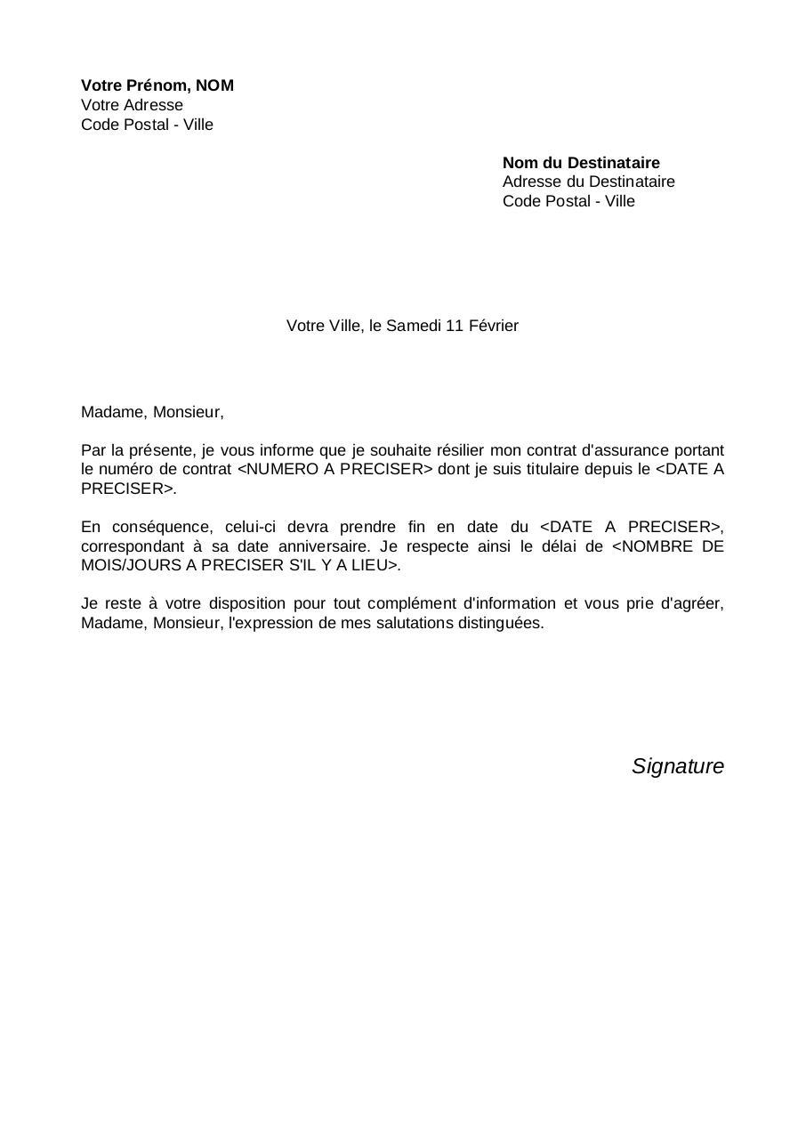 modele lettre resiliation contrat mutuelle