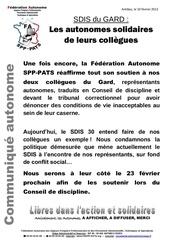 communique autonome les autonomes solidaires de leurs collegues du gard 10022012