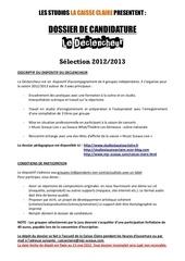 dossier de candidature declencheur 2012 13