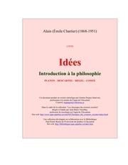 alain idees introduction a la philosophie platon descartes hegel comte