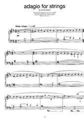 barber samuel adagio for strings piano arr