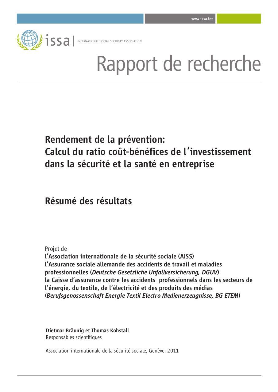 Vignette document Rendement de la prévention : calcul du ratio coût-bénéfices de l'investissement  dans la sécurité et la santé en entreprise. Résumé des résultats