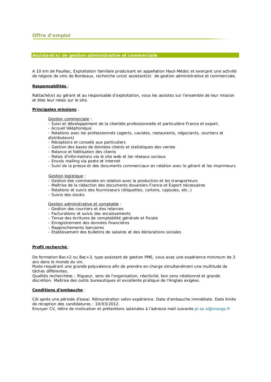 offre-emplo-assistante-administrative pdf par maison