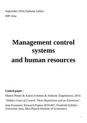 management control system and human resources