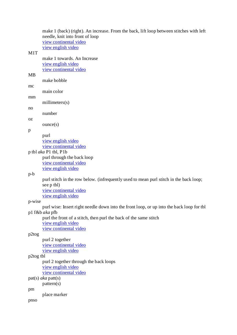 abreviations anglaises avec leur correspondance en anglais tricot par michele portable