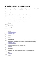 abreviations anglaises avec leur correspondance en anglais tricot