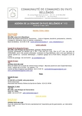 agenda de la semaine en pays bellemois n 113