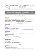 agenda de la semaine en pays bellemois n 114