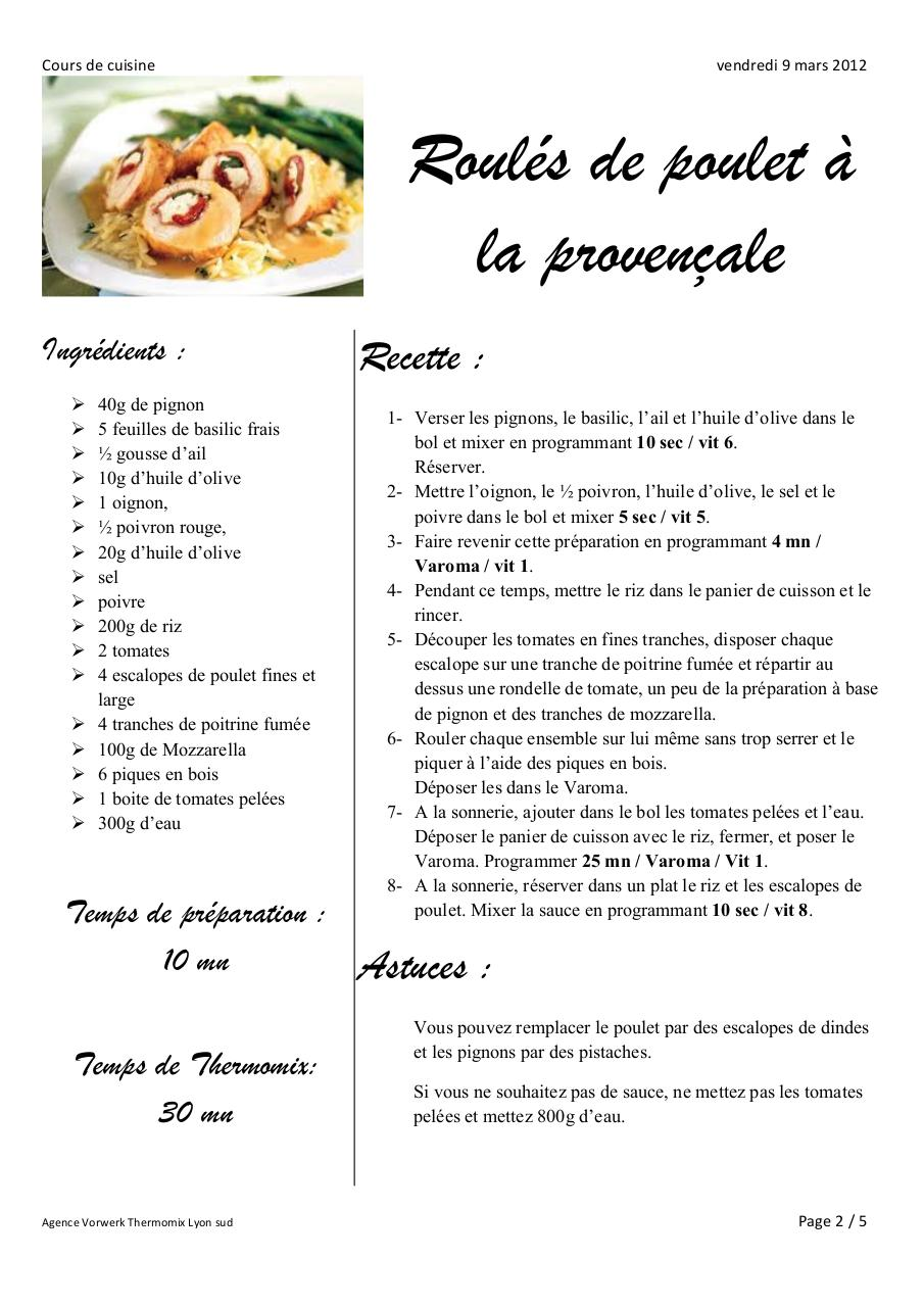 9 3 12 cours de cuisine par lionel vaujany cours de - Ecole de cuisine thermomix ...