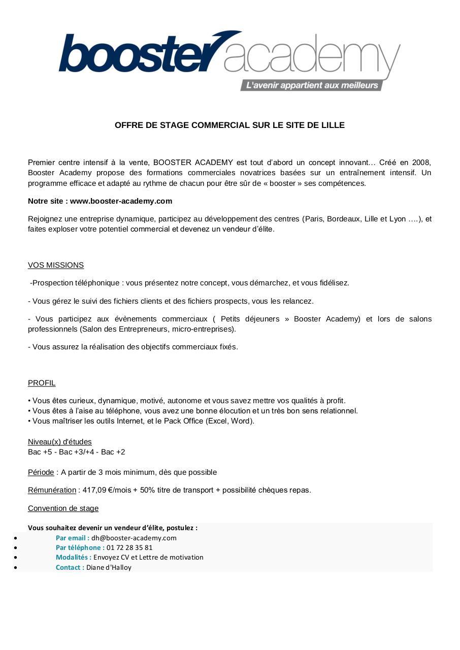 annonce stage commercial lille pdf par booster