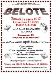 belote du samedi 31 mars 2012 version couleur avec dessins et heure debut belote