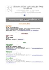 agenda de la semaine en pays bellemois n 115