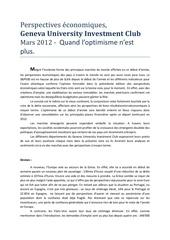 perspectives economiques mars 2012